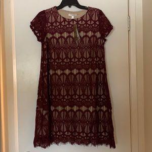 Burgundy lace dress